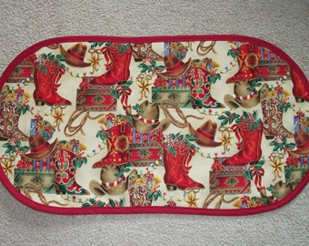 Quilted Winter Holiday Western Christmas Cowboy Boots Hats Placemat Table Runner Centerpiece 12.5x24