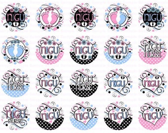 NICU Swirly Dots- Button Size Images 1.837 Inch (1.5 inch Button) Digital Collage Sheet for Badges n Buttons