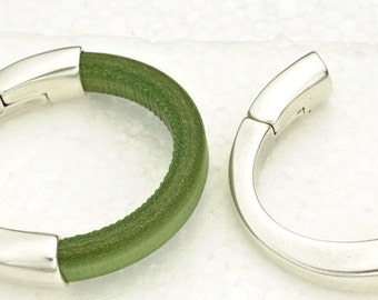 Magnetic Half Cuff Bracelet Finding for use with 10x6mm Licorice Leather - Antique Silver (Qty.1)