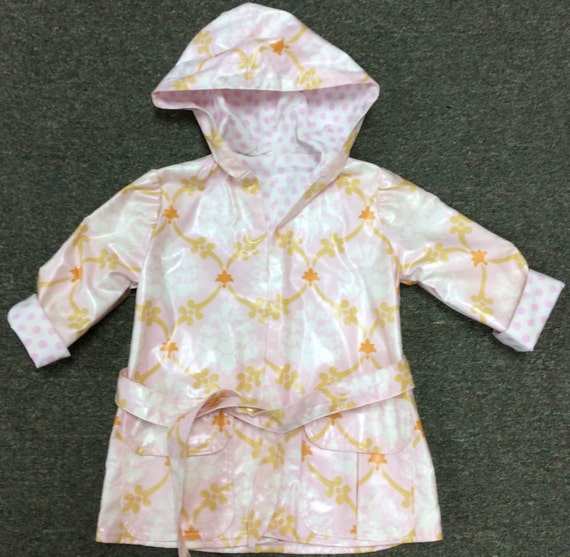 Little Pink Splashes Hooded Raincoat Runabout Jacket Amy Butler Love Collection Lined Pink Polka Dot Fabric Damask
