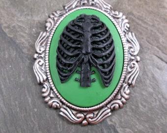 Ribs Brooch - Black and Green - Creepy Jewelry - Anatomical Brooch - Skeleton Cameo - Ribs Brooch - Cameo Pendant