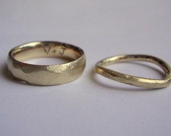 10k solid Gold rough Wedding ring set custom engraved inside.