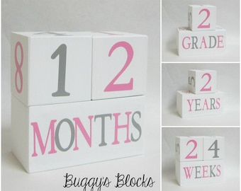 Baby Age Blocks - Photo Prop - 0 - 43 Weeks, Months, Years and Grade, Pink and Gray