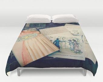 Pride and Prejudice Comforter or Duvet Cover: Home decor, Jane Austen, bedroom, bedding, blanket, pink, book, illustration