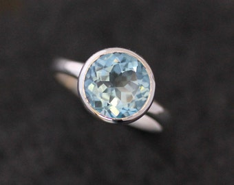Ready To Ship Size 6, Sky Blue Topaz Birthstone Ring, Handmade Blue Topaz Ring in Recycled Argentium, Handcrafted Ring with Round Blue Stone