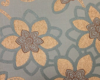 FABRIC SALE!!!  Blue and Cream Floral Upholstery Fabric - Upholstery Fabric By The Yard -Whimsical Upholstery Fabric