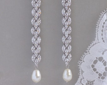 Crystal Earrings,  Long Crystal Earrings, Pearl Drop Earrings, Chandelier Earrings, Crystal Bridal Earrings, FELICITY