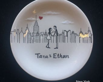 New York city skyline, Engagement gift, ring dish, Las Vegas, Philadelphia skyline, Personalized Hand Painted Ceramic Ring Dish plate