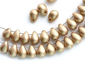 5x7mm Golden drops Matte Gold czech glass teardrop beads Gold drops - 30pc - 1735