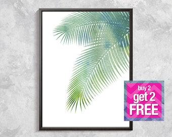 Green Leaf Print, Palm Leaf Print, Tropical Decor, Green Leaf Art, Palm Print, Botanical Decor, Palm Printable Art, Digital download art