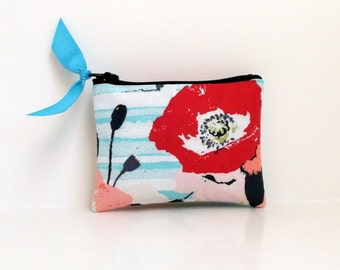 Coin Purse, Business card holder, Zipper coin pouch, small tech pouch, Pink Floral Turquoise Stripe- Ready to ship