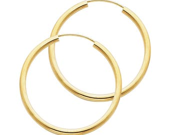 14k Solid Yellow Gold 2 MM Thick Lightweight Small Classic Endless Hoop Earrings 1.2 Inches 30MM