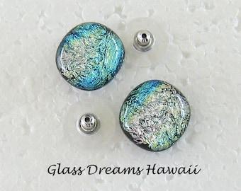 Dichroic Glass Stud Earrings - Handmade SRA - Multi-Color -  Etsy Teams