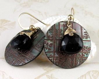 Smokey quartz earrings, handmade bamboo etched black lip shell earrings-OOAK