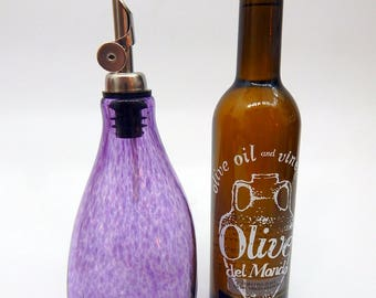 Lovely Hyacinth Purple Hand Blown Oil and Vinegar Cruet ,Bottle, Bottle Pourer  by Rebecca Zhukov