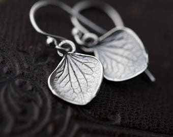 Tiny Sterling Silver Petal Earrings | Gardening Gift | Silver Dangle Leaf Earrings | Gift for Women | Botanical Handmade Jewelry by Burnish