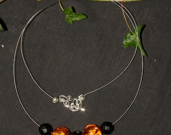 Amber and Lignite Jet Witches Necklace - Pagan, Wicca, Witchcraft