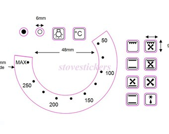 50-250 Temperature Numbers With 12 Oven Symbol Stickers