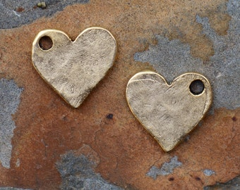 2 Antique Gold Hammered Flat Tag Mini Heart Charms  - 12mm - Nunn Designs - Low Shipping