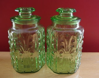 Vintage 1970s Pair of Green Glass Canister Storage Jars