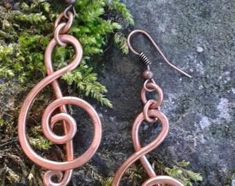 Handmade Violin Clef Copper Earrings