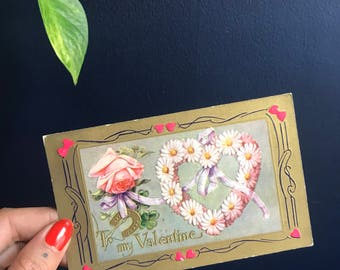 """Antique Embossed """"To My Valentine"""" Post Card With Gold Details, Daisies, Roses, Lucky Horseshoe, Clover and Hearts"""