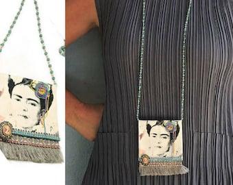 Frida Kahlo Necklace, Frida Kahlo Jewelry, Statement Necklace, Fabric Necklace, Pendant Necklace, Long Beaded Necklace, Boho Necklace, OOAK