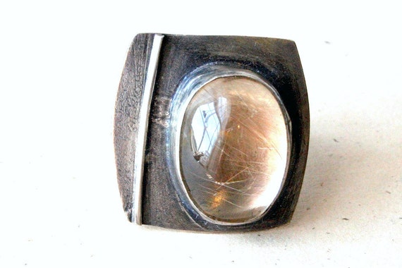 Sterling Silver Cocktail Ring Rutilated Quartz Modern Sleek Statement Ring