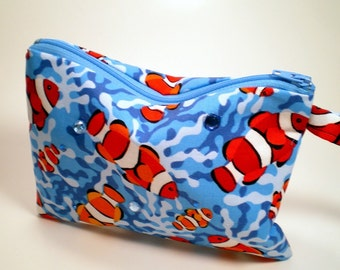 Wristlet with Clownfish and Rhinestones