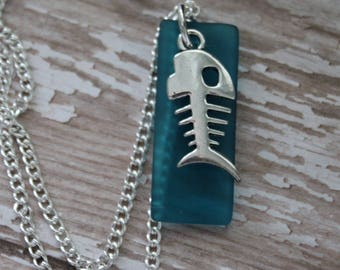 Stunning Teal Beach Glass Necklace With Silver Fish Eye Skeleton Charm