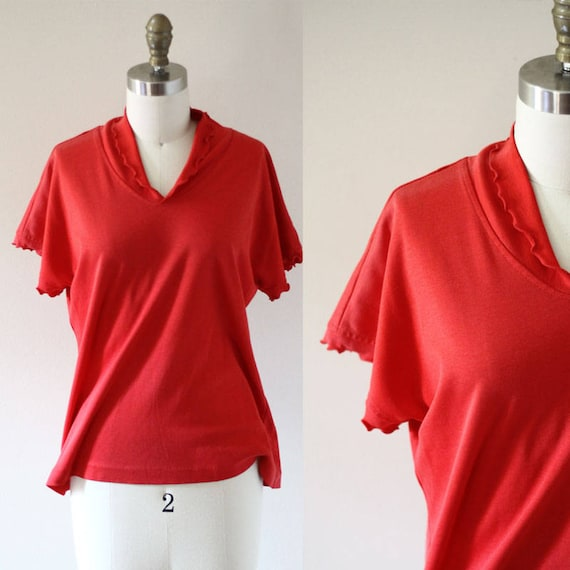1970s red ruffle short sleeve top // 1970s red top // 1970s blouse