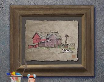 Nostalgic lazy cow windmill barn art Whimsical yesteryear print adds Americana art to rural life wall decor as 8x10 or 13x19 barn print