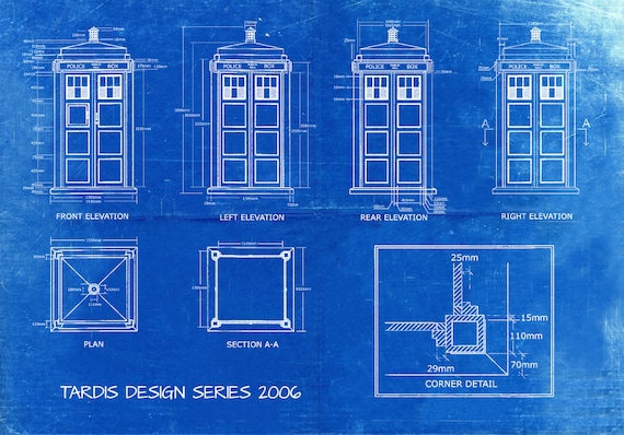 Tardis print poster dr who blueprint the tardis blueprint tardis print poster dr who blueprint the tardis blueprint 2006 art of the tardis whovian gift police box print art item 0213 malvernweather Gallery