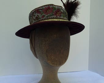 1890's Reproduction Victorian Straw Boater with Tapestry Ribbon and Feather Trim