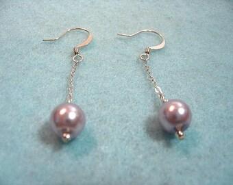 Lilac Glass Pearl Bead Earrings Handmade, Lavendar Light Purple Bead Jewelry, Minimalist Sterling Silver Chain Drop Earrings