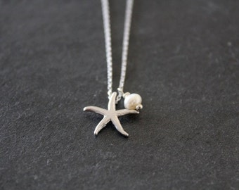 Silver Starfish and Freshwater Pearl Necklace, Elegant, Modern, Everyday, Friend, Sister Gift, Wedding