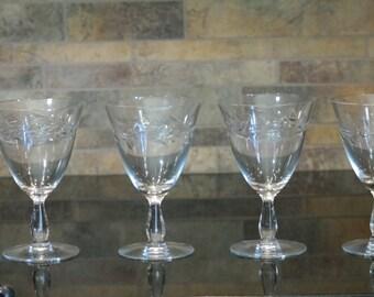 Vintage Etched Crystal Wine Glasses,  Set of 4,  Cambridge Lynbrook, circa 1950's, Bar Cart Style, Vintage Crystal Water glasses