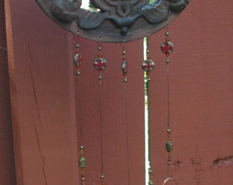 Celtic Style Cross Wind Chime, Adorned wiht Angels, Mirror Background, Copper  Chimes