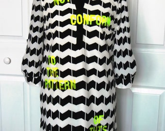 "Black White Chevron Neon Yellow ""Do Not Conform"" Crown & Ivy Tunic Dress - Size 4P... Christian Fashion, Jesus, God, Renew Your Mind, stripe"