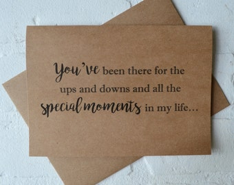 YOUVE ALWAYS been there for the ups and downs will you be my BRIDESMAID card kraft will you be my bridesmaid best friend card special moment