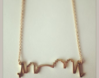 NOLA Skyline Gold Vermeil Charm Necklace, with 1.5mm Gold Filled Chain