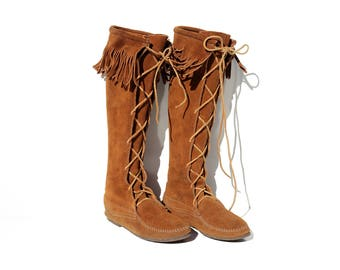 Vintage Brown Suede Moccasin Knee High Lace Boots / size 7