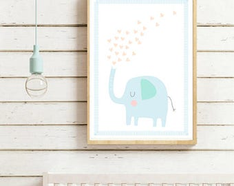 Nursery Wall Art Print, Kids Art Print, Animal Nursery Print, Modern Nursery Decor, Elephant poster, Kids room