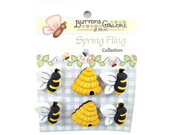 Busy Bees and Hives Buttons Galore Spring Fling Collection Novelty Buttons