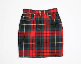 MOSCHINO - Wool tartan skirt