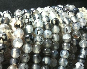 """☆ 10 beads of agate """"dragon vein"""" /ronde faceted / your dark / 6 mm ☆"""