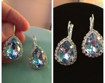 Light BLUE EARRINGS, Silver Leverback, PEAR shaped glass stone, surround by sparkly clear rhinestones, New