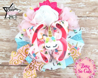 Layered Boutique Bow - Stacked Bow - Over the Top - Floral Unicorns - Flower bow