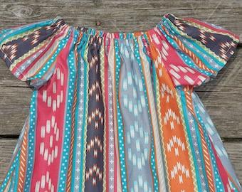Girl's Toddlers Southwest Aztec Print Flutter Sleeve Peasant Dress
