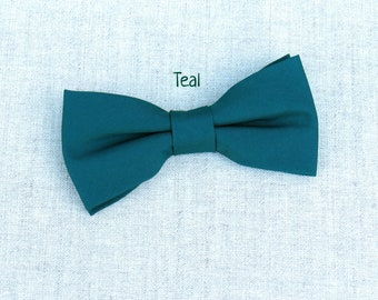 Teal Bow Tie, Mens Bow Tie, Solid Teal Bow Tie, Bow Tie for Men, Bow Tie for Wedding, Plain Bowtie, Groomsmen Bow Tie, Groom Bow Tie